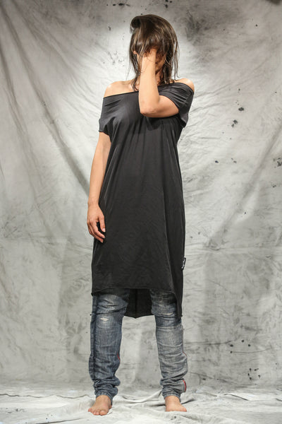 Shop Emerging Slow Fashion Conscious Conceptual Womenswear Brand Things I Miss Black Organic Cotton Jersey Obleka Tube Dress at Erebus