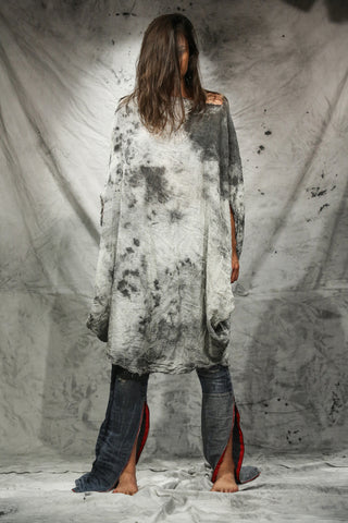 Shop Emerging Slow Fashion Conscious Conceptual Brand Things I Miss Hand-painted Grey Organic Cotton Gauze Simetrična Plenica Krog Top at Erebus