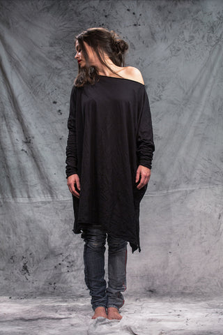 Shop Emerging Slow Fashion Conscious Conceptual Brand Things I Miss Organic Cotton Jersey Black Veliki Kvadrat Top at Erebus