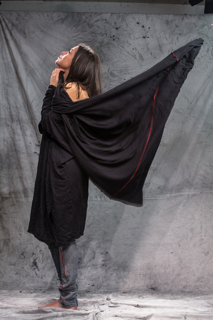 Shop Emerging Slow Fashion Conscious Conceptual Brand Things I Miss Black Organic Cotton Velik Šal Giant Tube Scarf at Erebus