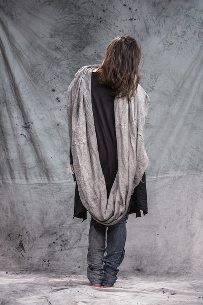 Shop Emerging Slow Fashion Conscious Conceptual Brand Things I Miss Grey Organic Cotton Gauze Velik Šal Giant Tube Scarf at Erebus