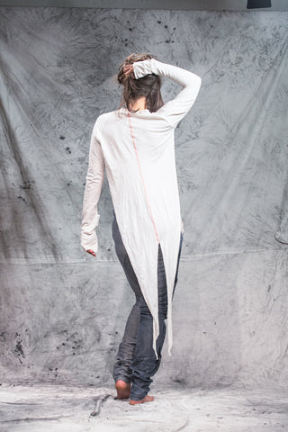 Shop Emerging Slow Fashion Conscious Conceptual Womenswear Brand Things I Miss Off-white Organic Cotton Jersey Frak Tail Coat at Erebus