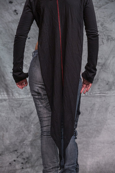 Shop Emerging Slow Fashion Conscious Conceptual Womenswear Brand Things I Miss Black Organic Cotton Jersey Frak Tail Coat at Erebus