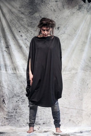 Shop Emerging Slow Fashion Conscious Conceptual Brand Things I Miss Black Organic Cotton Jersey Simetrični Krog Sleeveless Top at Erebus