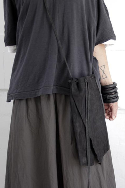 Shop emerging slow fashion accessory brand For Those Who Pray Black Leather Monk's Pouch - Erebus