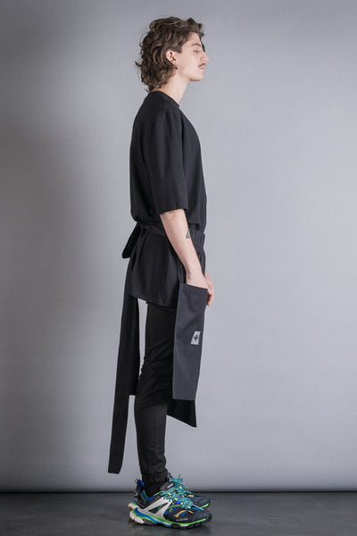 Shop Conscious Contemporary Brand Zsigmond Dora Menswear Rural Explorer AW20 Collection Black Cotton Zirc Apron at Erebus