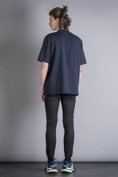Shop Conscious Contemporary Brand Zsigmond Dora Menswear Rural Explorer AW20 Collection Prussian Blue Organic Cotton Gara T-Shirt at Erebus