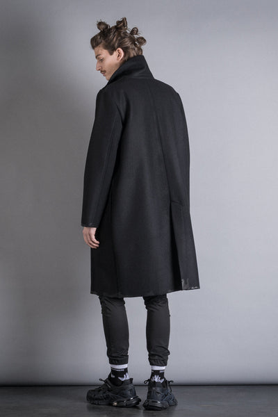 Shop Conscious Contemporary Brand Zsigmond Dora Menswear Rural Explorer AW20 Collection Black Hand-Painted Wool Harka Coat at Erebus