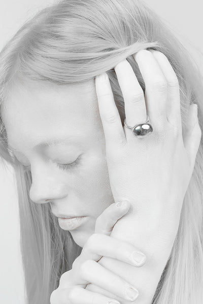 Shop Emerging Minimalist Avant-garde Jewellery Brand B KREB Polished Silver S1 Ring at Erebus