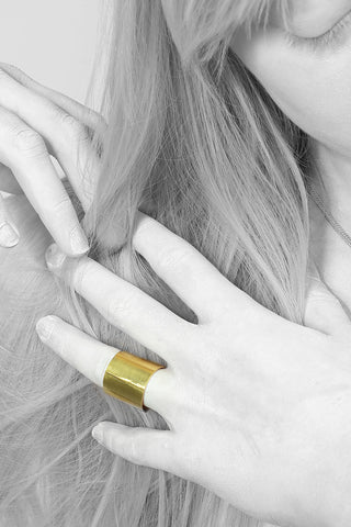 Shop Emerging Minimalist Avant-garde Jewellery Brand B KREB Gold RIV Ring at Erebus