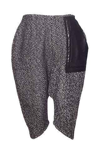 Shop Emerging Conscious Avant-garde Gender-free Brand Supramorphous Black and White Wool Long Shorts at Erebus