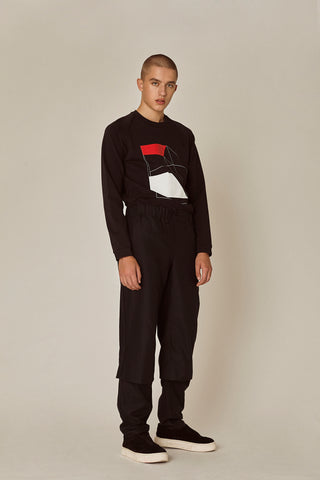 Shop Emerging Ethical Slow Fashion Men's Streetwear Brand MLTV Ribbon Sweater at Erebus