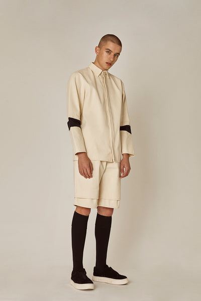 Shop Emerging Ethical Slow Fashion Men's Streetwear Brand MLTV Cream Transformable DEsign Shirt at Erebus