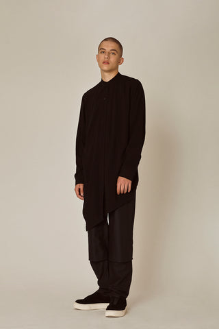 Shop Emerging Ethical Slow Fashion Men's Streetwear Brand MLTV Black Layered Shirt at Erebus