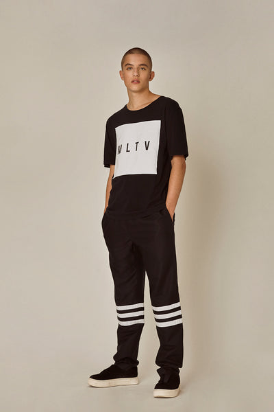 Shop Emerging Ethical Slow Fashion Men's Streetwear Brand MLTV Logo T-Shirt at Erebus