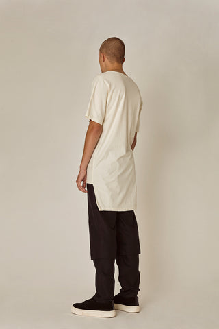Shop Emerging Ethical Slow Fashion Men's Streetwear Brand MLTV Cream Panel Print T-Shirt at Erebus