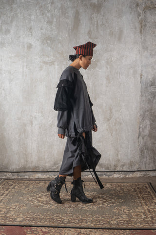 Shop Emerging Slow Fashion Genderless Avant-garde Designer Mark Baigent Spittelberg Collection Black and Red Batik Thai Silk Freudenhut Hat at Erebus