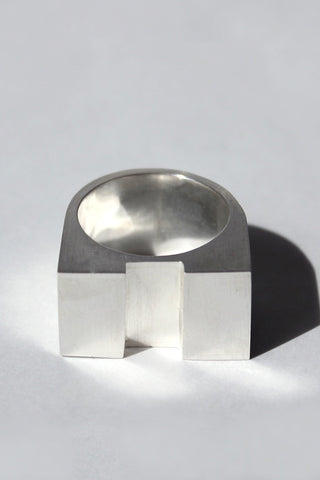Shop Emerging Brands Draug Jewellery X MLTV Silver M_A1 Ring at Erebus