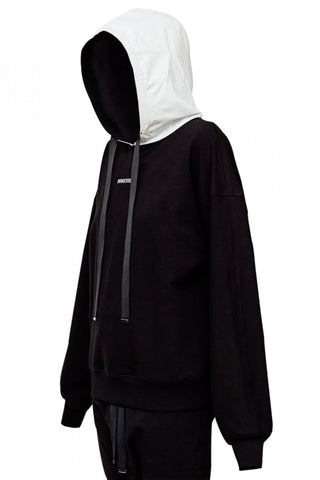 Shop Emerging Unisex Street Brand Monochrome Black M Hooded Sweatshirt at Erebus