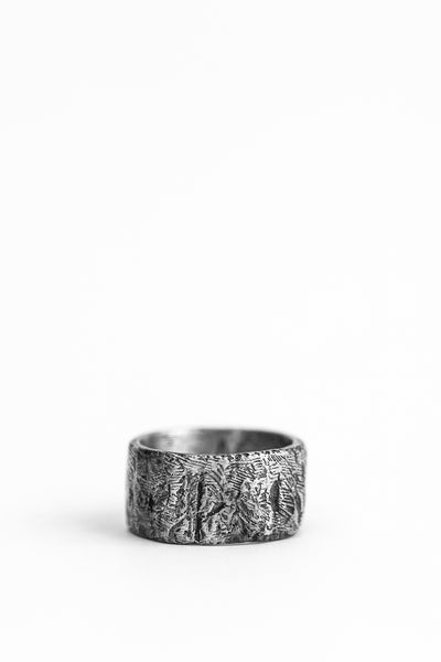 Shop avant-garde brands OSS x Army of Me Collaboration Silver Massive Band Ring at Erebus