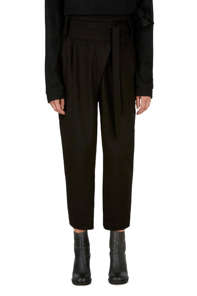 Emerging slow fashion womenswear brand CLON8 black wrap Mercury Trousers - Erebus - 2