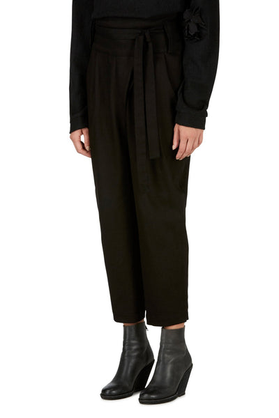 Emerging slow fashion womenswear brand CLON8 black wrap Mercury Trousers - Erebus - 3
