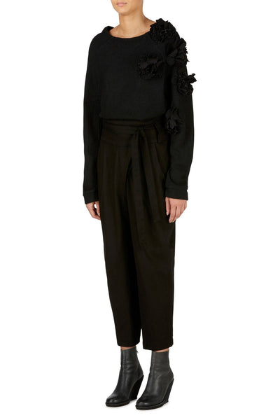 Shop emerging slow fashion womenswear brand CLON8 black wrap Mercury Trousers - Erebus