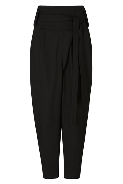 Emerging slow fashion womenswear brand CLON8 black wrap Mercury Trousers - Erebus - 1