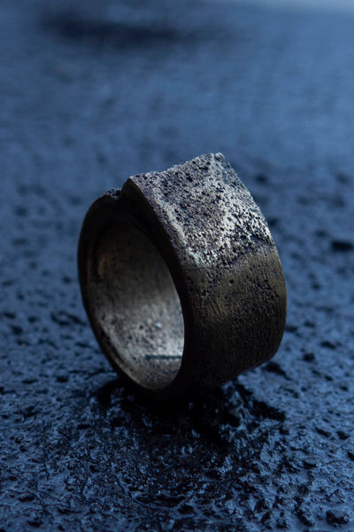 Shop Emerging Slow Fashion Avant-garde Jewellery Brand Surface Cast Blackened Bronze Mid Simulation 1 Ring at Erebus