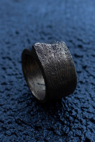 Shop Emerging Slow Fashion Avant-garde Jewellery Brand Surface Cast Blackened Bronze Mid Simulation 2 Ring at Erebus