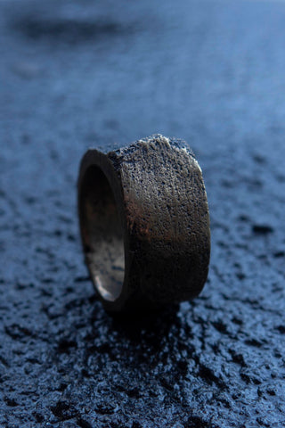 Shop Emerging Slow Fashion Avant-garde Jewellery Brand Surface Cast Blackened Bronze Mid Simulation 3 Ring at Erebus