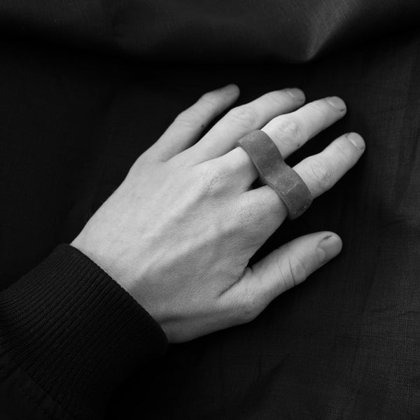 Shop Emerging Slow Fashion Avant-garde Brand Surface/Cast Middle 2 Finger Ring at Erebus