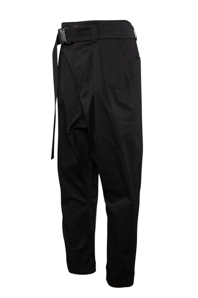 Shop Emerging Unisex Street Brand Monochrome Black Belted Gusset Trousers at Erebus