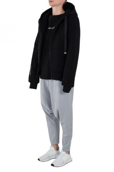 Shop Emerging Unisex Street Brand Monochrome Black Double Line Hoodie at Erebus