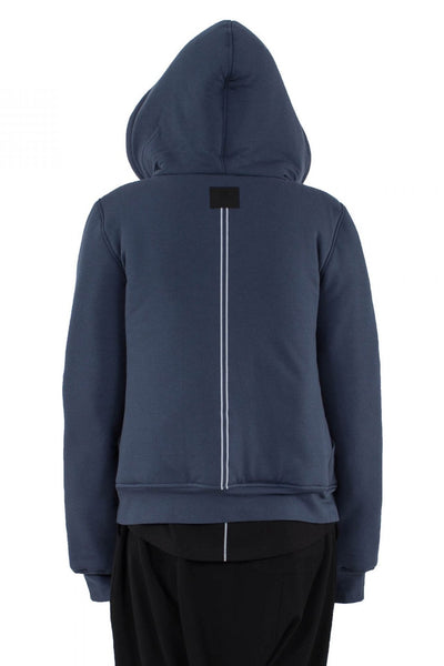 Shop Emerging Unisex Urban Brand Monochrome Grey Blue Double Line Hoodie at Erebus
