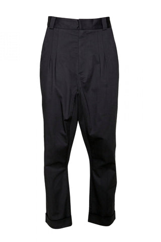 Shop Emerging Unisex Street Brand Monochrome Black Gusset Cuff Trousers at Erebus