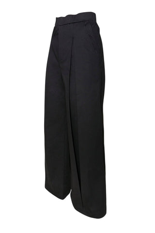 Shop Emerging Unisex Street Brand Monochrome Black Inverted Pleat Pants at Erebus