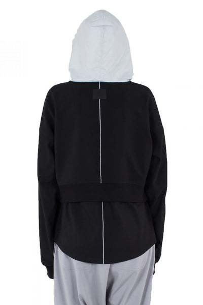 Shop Emerging Unisex Street Brand Monochrome Black Line Cropped Hoodie at Erebus