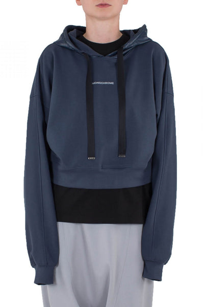 Shop Emerging Unisex Street Brand Monochrome Grey Blue Line Cropped Hoodie at Erebus