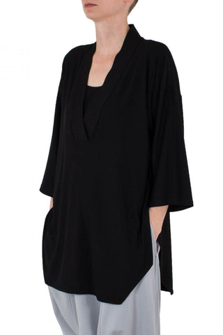 Shop Emerging Unisex Street Brand Monochrome Black Line Kimono Top at Erebus