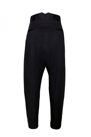 Shop Emerging Unisex Street Brand Monochrome Black Inverted Pleat Trousers at Erebus