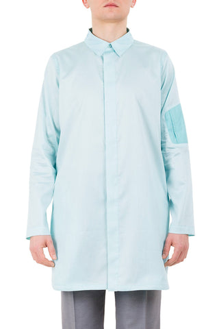 Shop emerging unisex brand Monochrome Paraiba Coded Shirt Turquoise - Erebus - 1