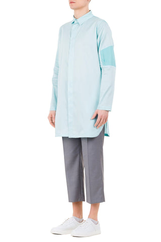 Shop emerging unisex brand Monochrome Paraiba Coded Shirt Turquoise - Erebus - 5