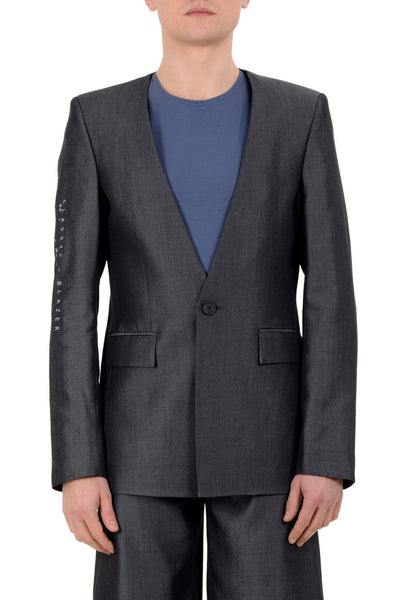 Shop emerging unisex brand Monochrome grey Tencel Coded Blazer - Erebus - 1