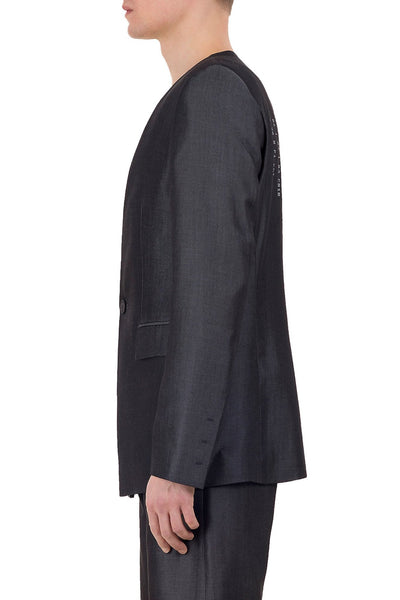 Shop emerging unisex brand Monochrome grey Tencel Coded Blazer - Erebus - 3