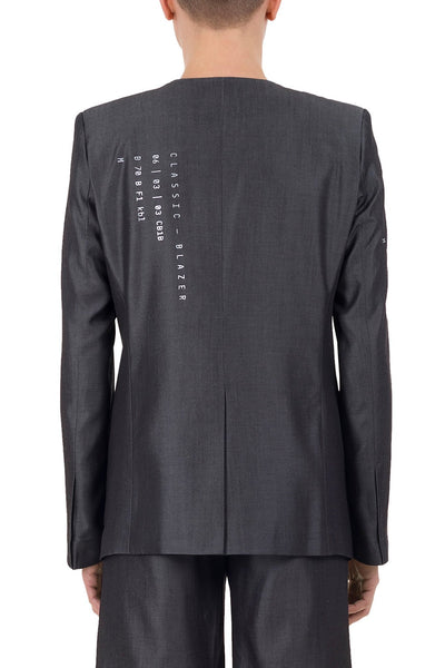 Shop emerging unisex brand Monochrome grey Tencel Coded Blazer - Erebus - 4
