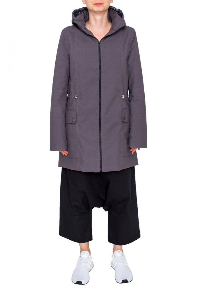 Shop Emerging Unisex Street Brand Monochrome Grey Waxed Parka at Erebus