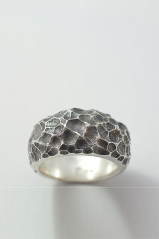 Shop Emerging Conscious Avant-garde Brand Black Rock Jewel Moon Band Ring at Erebus