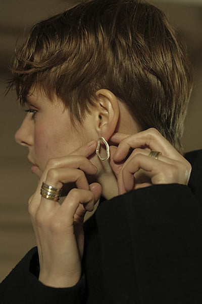 Shop Emerging Slow Fashion Avant-garde Jewellery Brand Møsaïs Silver Cinerea Earring at Erebus