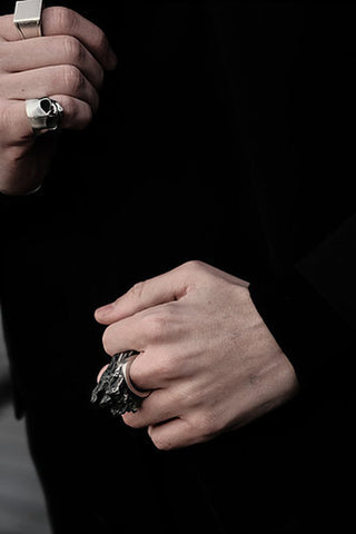 Shop Emerging Slow Fashion Avant-garde Jewellery Brand Mosais Silver Sylvatica Ring at Erebus